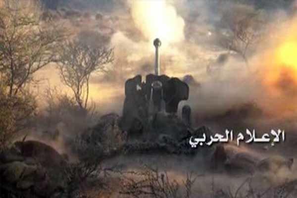 حملات توپخانه ای نیروهای یمنی به مواضع سعودی در جیزان