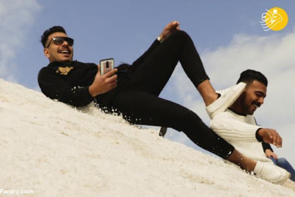 (ویدئو) نمک بازی مصری ها به جای برف بازی!